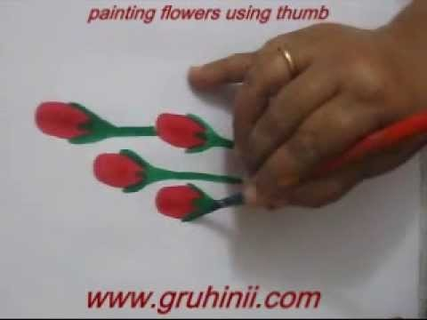 Painting flowers using thumb