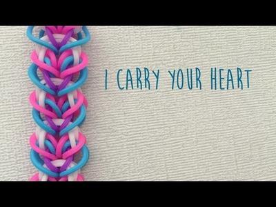 Rainbow Loom Bands I Carry Your Heart Bracelet Tutorial
