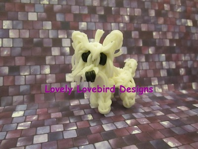 Rainbow Loom Westie, West Highland White Terrier Dog or Puppy Charm. 3-D.