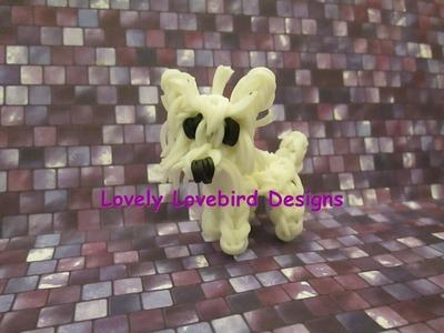 Rainbow Loom Westie, West Highland White Terrier Dog or Puppy Charm. 3-D.