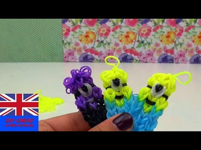 Tutorial for making cute Minion Loom band key chain  - tutorial Loom band elastic Minion