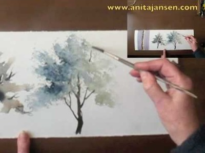 "Watercolour demo - Aquarelle   ""How to paint trees Part II"""