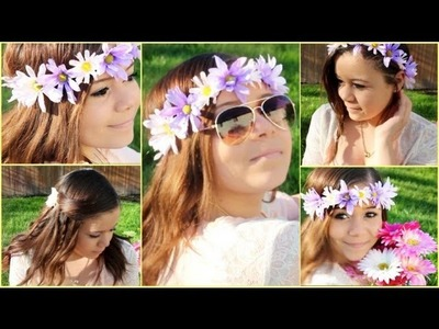 3 Cute&Easy Spring Hairstyles+DIY Flower Headband!