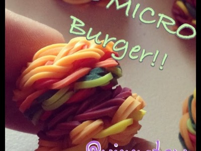 3D MICRO Burger Hamburger Charm Rainbow Loom Tutorial
