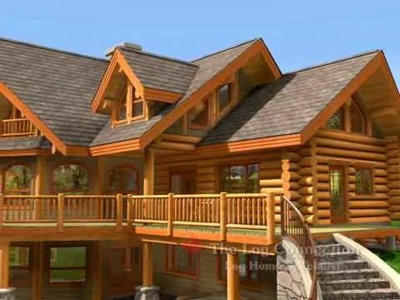 Bavarian Dream Stacked Log Home by The Log Connection