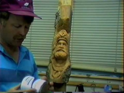 Carving the Old Man of the Mountains or Wood Spirit
