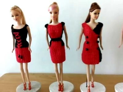 Crochet Dress Black and Red for Doll 21