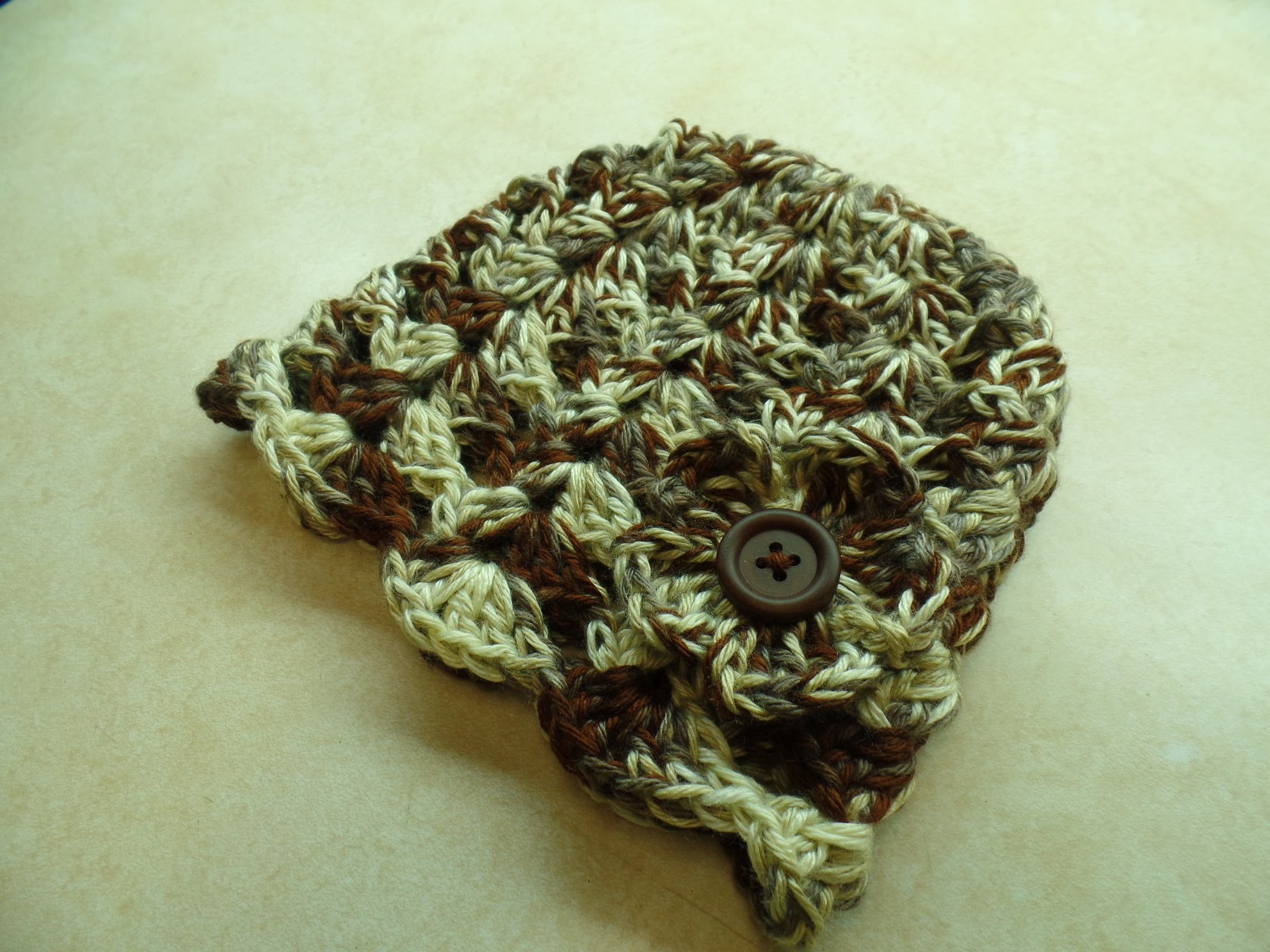 #Crochet Easy V Stitch Beanie Hat with Flower Adjustable Child Adult #TUTORIAL