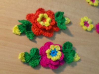 CROCHET FLOWER WITH LEAVES PART-1