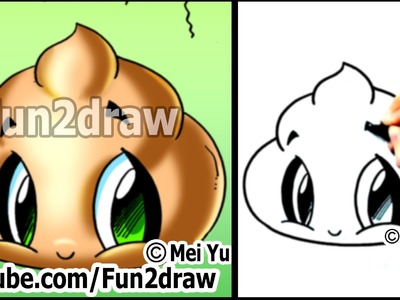 Cute POO! - How to Draw Funny Cartoons (Step by Step Easy)