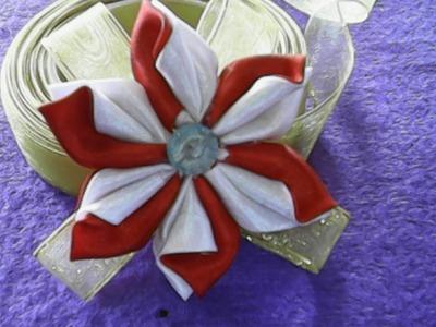 DIY-HANDMADE-bunga merah putih dari kain satin-red and white flowers on satin
