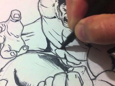 Drawing and Inking The Hulk