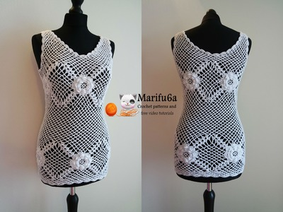 How to crochet top tunic with roses pattern tutorial by marifu6a