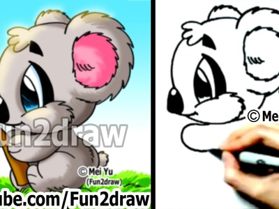 How to Draw Cartoon Animals : How to Draw a Koala - Drawing Step by Step - Learn to Draw - Fun2draw