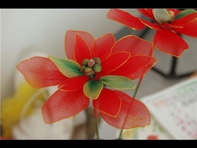 How to Make Nylon Flower - Poinsettia for Christmas, Holiday Decoration Craft