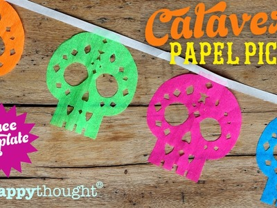 How to make papel picado calaveras: Sugar skull decoration to make for Dia de los Muertos!