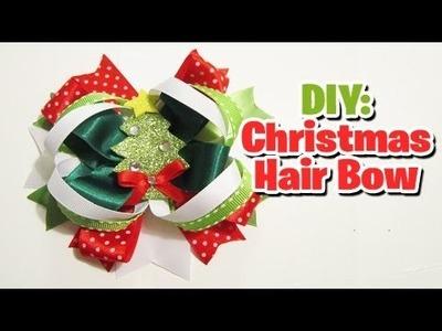 Last minute Christmas hair bow tutorial