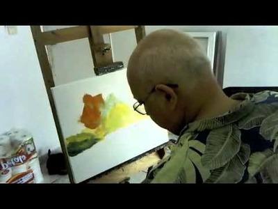 Leonid Afremov Painting live a painting of bridge - part 1