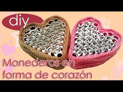 Monederos en forma de corazon para San Valentin. St. Valentines Heart Shaped Coin Purse