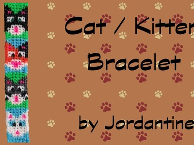 New Cat Kitten Bracelet - Alpha Loom. Rainbow Loom - Grid Pattern - Calico Tabby