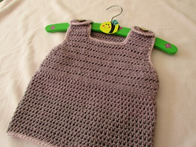 VERY EASY simple crochet pinafore dress tutorial - baby and child sizes