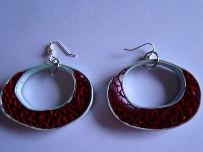 Handmade Jewelry - Beehive Quilling Paper Earrings (Blue-Maroon)