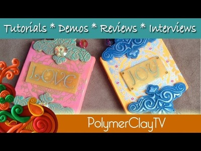 How to make a pretty mixed media inspirational word canvas polymer clay Wall Art Plaque