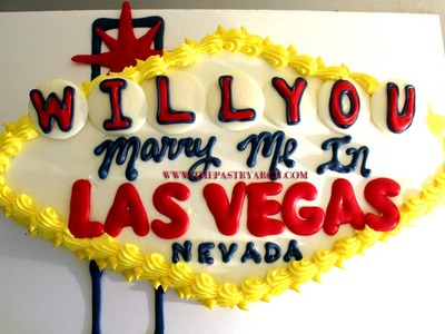 How to make a Welcome to Las Vegas Sign Sin City Engagement Cake!