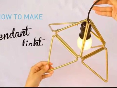 How To Make Plastic Straw Pendant Light With Triangle Modular