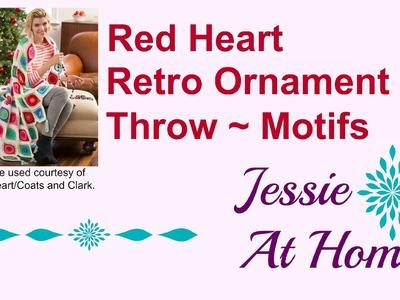 Retro-OrnaRed Heart Retro Ornament Throw ~ Motifs