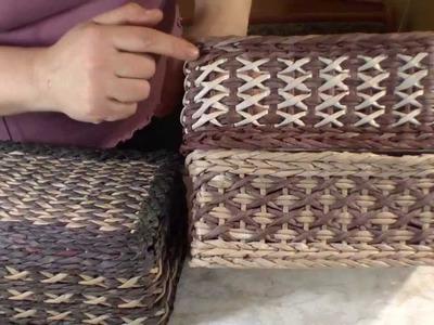 Weaving the beautiful pattern Crosses of newspapers