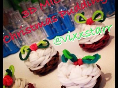 3D MICRO Christmas Pudding Cake Charm Rainbow Loom Tutorial