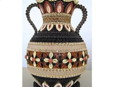 3d paper quilling  design ideas, patterns, vase, flowers