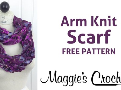 Arm Knit Starbella Lace & Starry Night Ribbon Yarn Purple Cowl Scarf - Right Handed