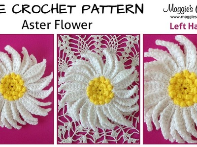 Aster Flower Free Crochet Pattern - Left Handed