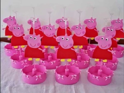Centro de Mesa Festa Infantil tema Peppa Pig (centerpiece for children's party)