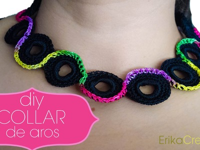 Collar de aros de plástico.Water bottle rings necklace
