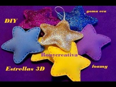COMO HACER ESTRELLAS 3D en FOAMY o GOMA EVA. FOAMY STARS DIY (with English translation)