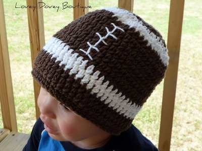 Crochet Football Beanie Pattern Tutorial - Left Handed