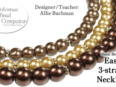 Easy 3 Strand Beaded Necklace