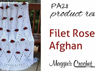 Filet Rose Afghan Crochet Pattern PA211