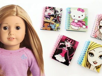 How to make AMERICAN GIRL Spiral notebooks  - Dollhouse DIY - Easy Doll Crafts