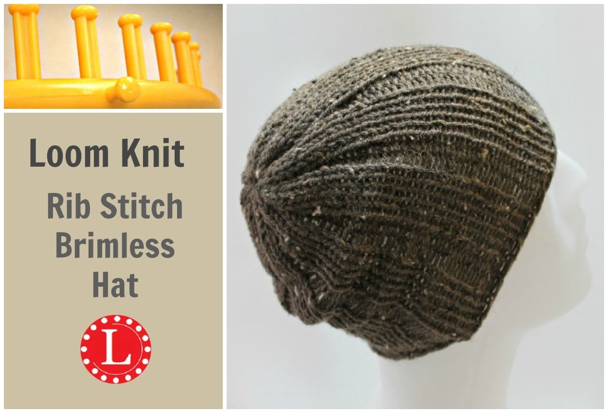 Loom Knitting Hat Rib Stitch Slight Slouch Brimless Beanie for Men and Women.