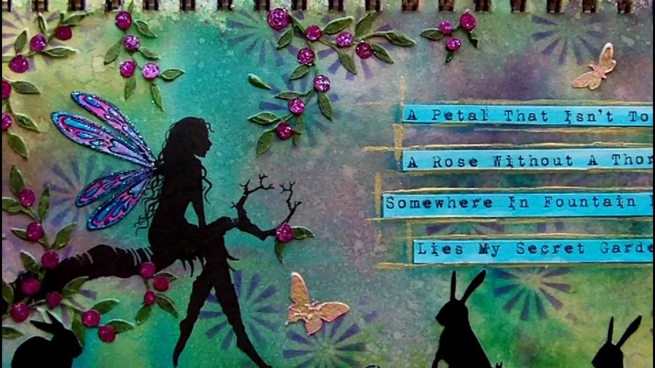 Mixed Media Art Journal Page - Secret Garden