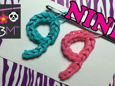 Number Nine #9 Charm Without the Rainbow Loom Tutorial