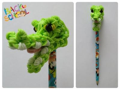 Rainbow Loom crocodile pencil topper Loombicious