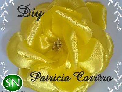 Rosa amarela de fita de cetim DIY \ Yellow rose satin ribbon