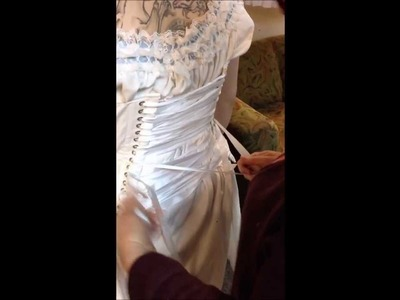 Victorian Gown How to Put on Tutorial - Putting on from Chemise, Corset to Bodice KMKDesigns
