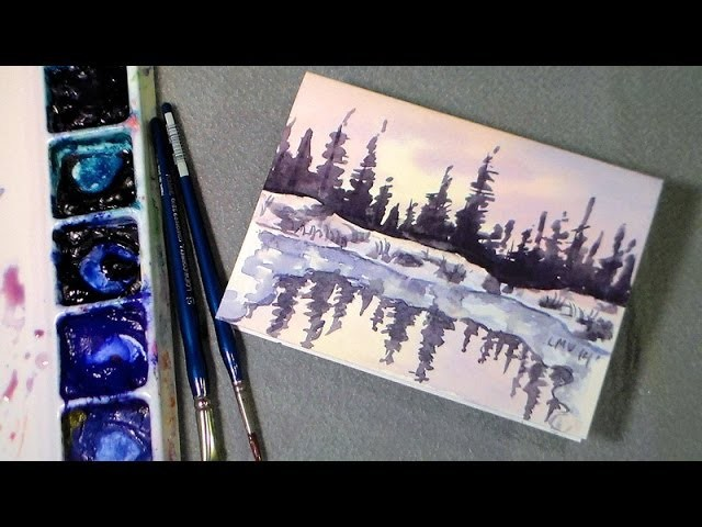 Winter pond watercolor tutorial