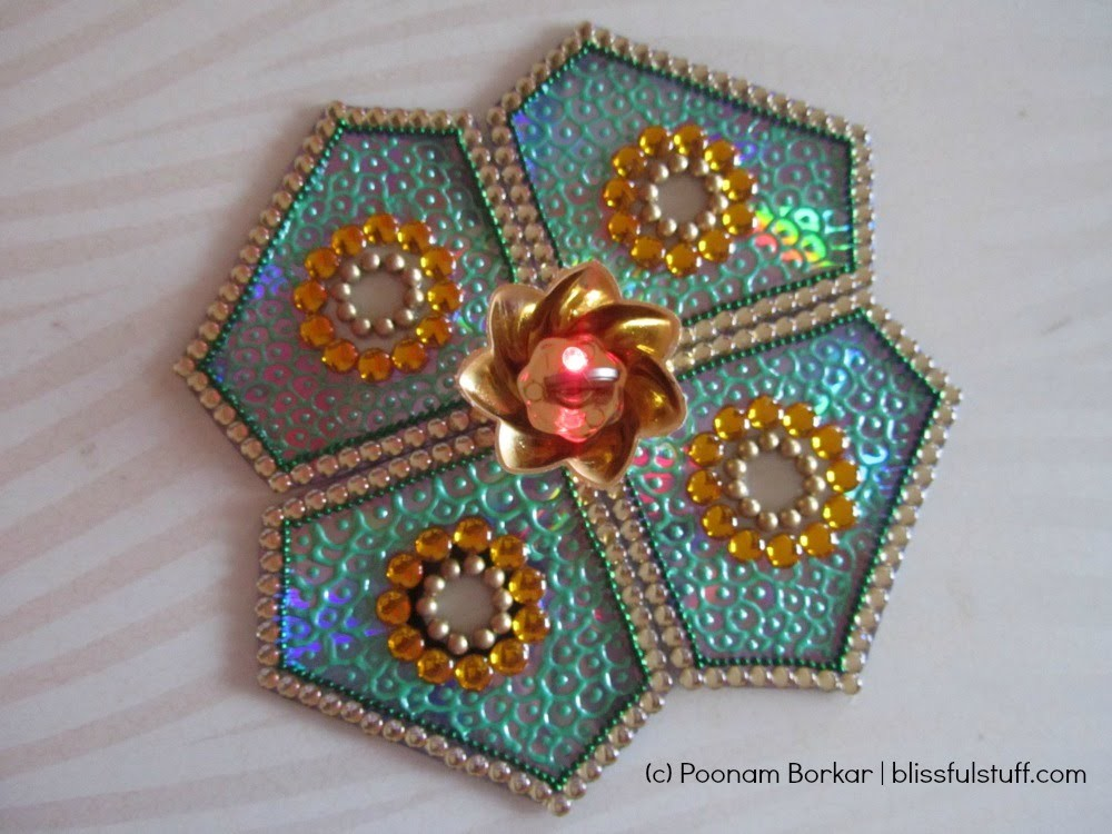 DIY - CD Rangoli | How to make kundan rangoli with old CDs | Best out of waste
